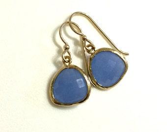 Light Blue Crystal Drop Earrings, Dangle, Teardrop, Bridal, Periwinkle Earring, Gold Filled Wires