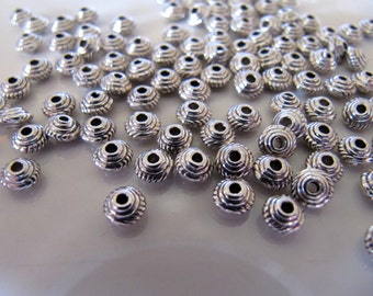 5mm Spacer Beads in Antiqued Silver Tone Metal, 50 Beads, Tibetan Style, Approx. 5mm x 3mm