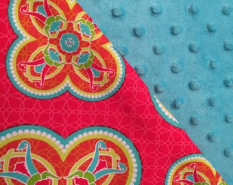 Baby Car Seat Canopy COVER or NURSING Cover: Bright Scarlet Patterned Clovers with Bright Teal Minky, Personalization Available