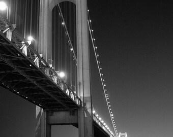Verrazano Bridge at Night Signed Black & White Photography print, Brooklyn, Nautical, Industrial, New York, Landmark