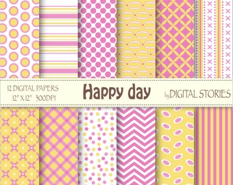 """Pink Yellow Digital Papers: """"HAPPY DAY"""", scrapbook digital paper set with chevron, dots, stripes for cards, baby shower, invitation"""