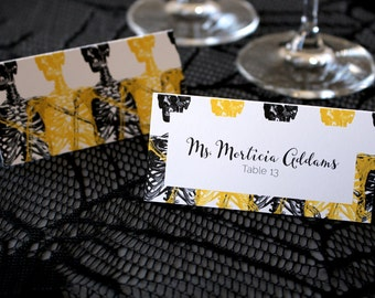 FULL SERVICE Halloween Wedding Escort Cards Gothic Spooky Skeleton Wedding Escort Place Cards -Script Font
