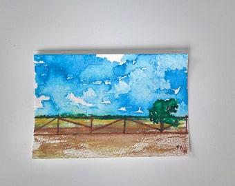 Original Watercolor Landscape, small watercolor painting