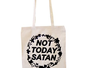 Not Today Satan Tote Bag - Ethically Sourced, 100% Cotton - Ecru Bag Bianca Del Rio RuPaul's Drag Race Trans LGBTQ+ Queer Meme Iconic