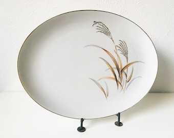 """Vintage Golden Wheat 14"""" Oval Serving Platter + Wheat Design with Gold Rim + Harmony House Fine China + Mid Century + Vintage Serving"""