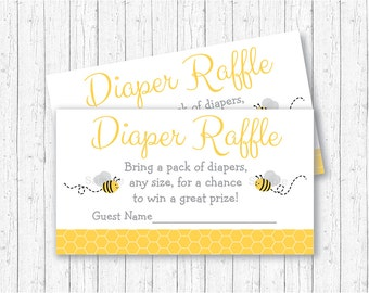 Bumble Bee Diaper Raffle Tickets / Bumble Bee Baby Shower / Bee Baby Shower / Yellow & Grey / Gender Neutral / INSTANT DOWNLOAD A194