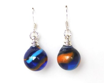 Clearance sale Cobalt blue, light blue and orange glass marble dangle earrings
