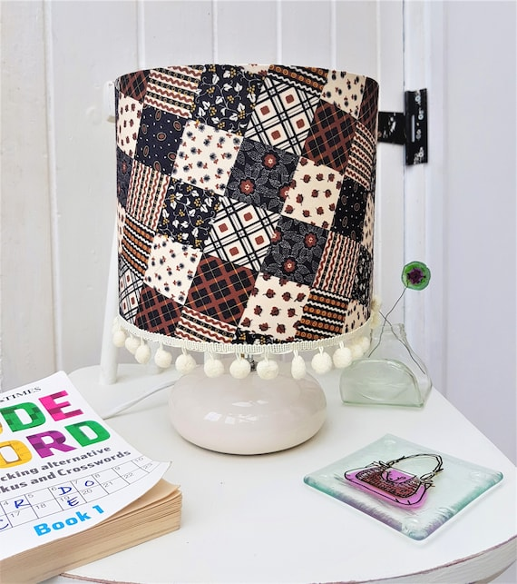 Patchwork fabric lamp shade flower shade plaid lampshade patchwork fabric lamp shade flower shade plaid lampshade country home decor cream lampshade table lamp shade brown shade free adaptor aloadofball Image collections