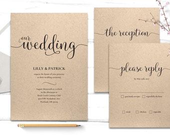 Printable Wedding Invitation - Wedding Template - Wedding Invitation PDF - Wedding RSVP Print At Home - Elegant Wedding Invitation