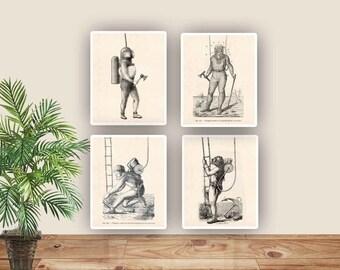 Nautical Old Diver prints, Vintage scuba diving images, Nautical dive art, Coastal Living, gift for divers, Diving school decor,diving clubs