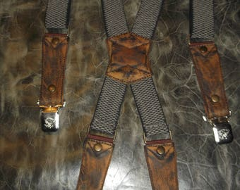 Leather Suspenders. Braces -beige. Handmade. Leather- brown.Fits all sizes M-XXXXL.