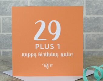 30th birthday card - milestone birthday, personalised 30th birthday card, 29 plus 1