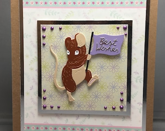 A Little Brown and Cream Mouse Carrying A Flag Best Wishes Card