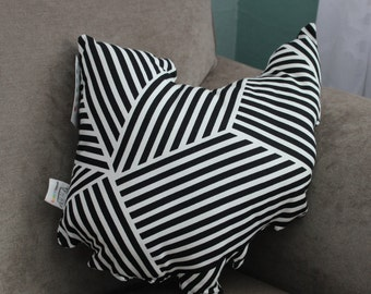 State of Ohio Accent Pillow Black and White Stripe (Ready to ship!)