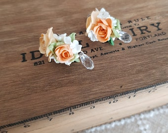 Stud Earrings, bouquet of roses and Swarovski crystals