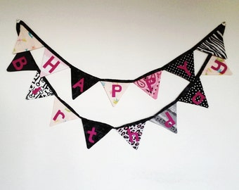 Happy Birthday Banner, Ready to Ship, Pirate Princess, Rock Star, Girls Birthday