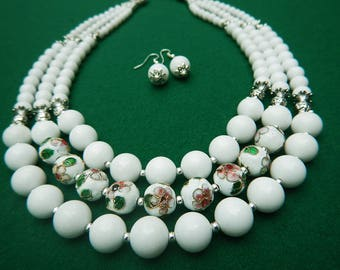 White agate and handmade cloisonne beads