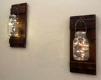 Rustic Recycled Pallet Mason Jar Wall Sconce Set with Solar Powered Led Fairy Lights, Set of 2
