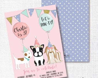 Dog Birthday Party Invitation, Printable, Puppy Invite, Pink and Purple, Doggy, Girl, Aqua, Gold, French Bulldog, Dog Shelter, Animal, Pet