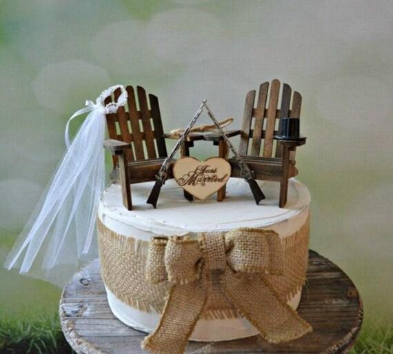 Hunting Camo Wedding Ideas: Gun Wedding Chairs Lake Camping Hunting Themed Wedding Cake