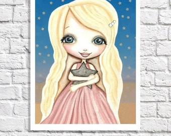 Star Nursery Art Baby Girl Nursery Wall Decor Ideas Little Girl Print Toddler Girl Bedoom Picture Tween Girl Room Artwork Whimsical Poster