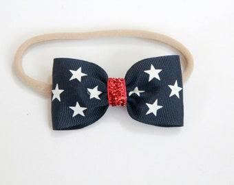 4th of July Headband -July 4th Bow Headband, Fourth of July Headband - Navy Blue Bow - Baby 4th of July Bow