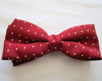 80s Ormond Polyester Burgundy Red Polka Dot Mens Clip On Bow Tie