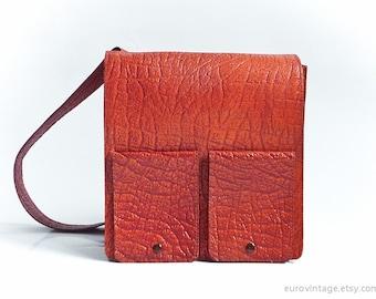 Vintage Red Leather Messenger Bag Reddish Shoulder Bag