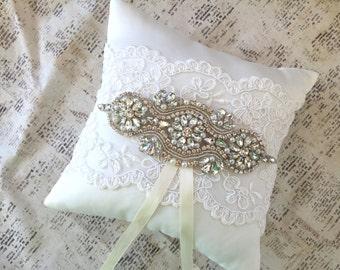 Rhinestone ring pillow, ivory ring pillow, Rhinestone ring bearer pillow, flower girl basket vintage, ivory Flower basket and ring pillow
