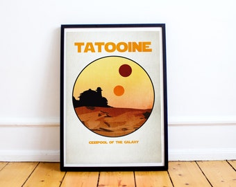 Tatooine Star Wars Retro Style Planet Postcard Poster Print (Available In Many Sizes)