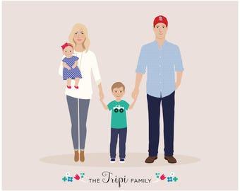 personalized portrait, Custom Family Portrait, new baby gift, family gift
