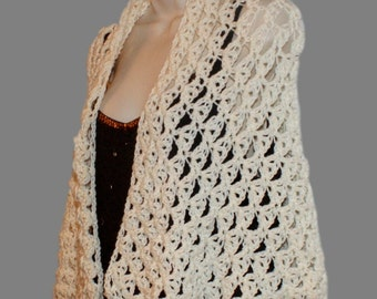 Ivory Shawl, Bridal Shawl, Dressy Shawl, Elegant Shawl, Shoulder Wrap, Lace Shawl, Woman Shawl, Bridal Wrap, Bride Shawl, Wedding Shawl