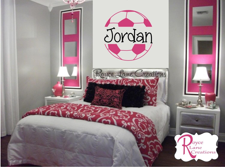 soccer ball soccer wall decal b4 for girls room teen girl. Black Bedroom Furniture Sets. Home Design Ideas