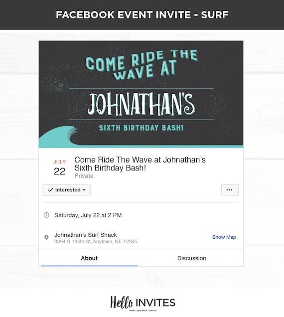 Surfing Birthday Facebook Event Invitation Blue Orange Boy