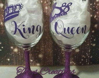 King/Queen Wine Glasses, His/Hers, Gifts, Wedding, Anniversary, Engagement, Personlized, Custom, Valentines Day