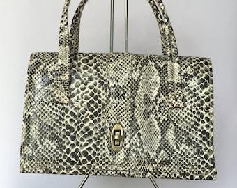 Vintage 1960s Faux Snakeskin Top-Handle Bag/Purse