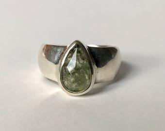 Faceted Moldavite Ring US 7