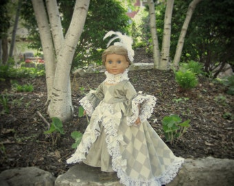 "Harlequin Lace -- 18th Century Rococo Ensemble for 18"" Doll, i.e., American Girl, et al (aka Marie Antoinette Dress)"
