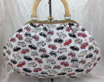 Cars Fabric purse bag frame handbag fabric handbag shoulder bag frame purse kiss clasp bag Handmade Racing Minis and Minors Morris.