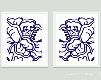 Modern Flower Art Print Flower Wall Art Set of 2 Prints Navy Blue and White Art Abstract Flower Wall Art Modern Decor Aldari Art