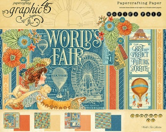 CLEARANCE! Graphic 45 World's Fair 8x8 Paper Pad, SC007536