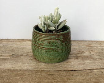 Handmade unique green ceramic planter handmade ready to gift or use. Plant pot. Gas fired planter.