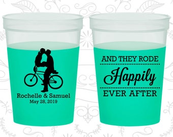 And They Rode Happily ever After, Cheap Color Changing Cups, Southern Wedding, Bicycle, Green Mood Cups (201)
