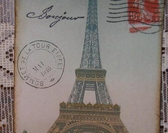 Eiffel Tower Bonjour Gift Hang Tags