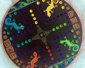 Wahoo game board, aggravation, marble game, lizard art, game boards,  stylized lizard art