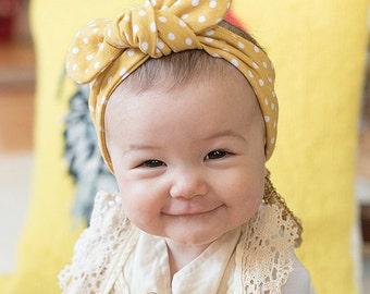 Baby Headband - Top knot Headband - Toddler Headband - Polka Dot - Yellow Headband