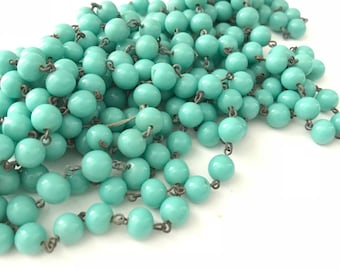 Vintage Robins Egg Blue Glass Beaded Chain, Vintage Glass Beaded Chain, Vintage Rosary Chain