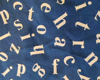 16) Vintage Blue Alphabet soup fat quarters