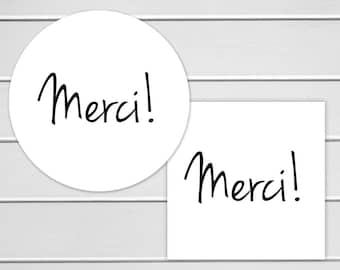 Merci Labels, White Thank You Stickers, Printable Stickers, Pick your size and amount (#113)