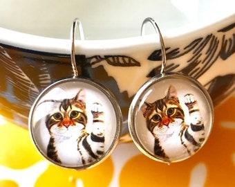 Tabby Cat cabochon earrings- 16mm
